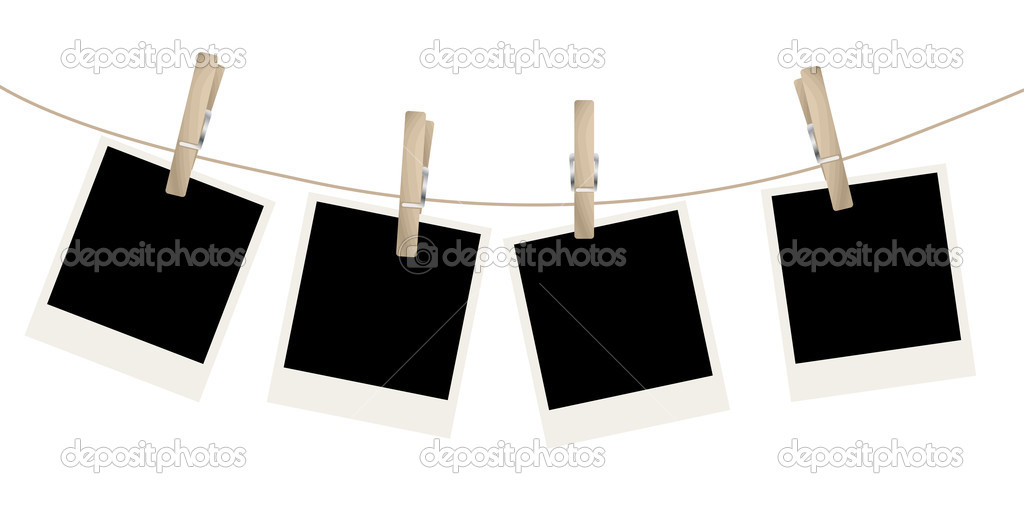 Photo frames on the rope. Vector illustration. — Stock Vector #4512119