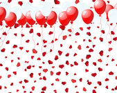 Balloons on hearts — Vector de stock