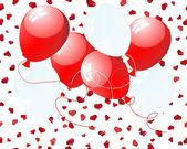 μπαλόνια στις καρδιές — Διανυσματικό Αρχείο