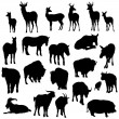 Set of deer, horses, goats, yaks, buffalos and pig silhouettes — Stock Vector