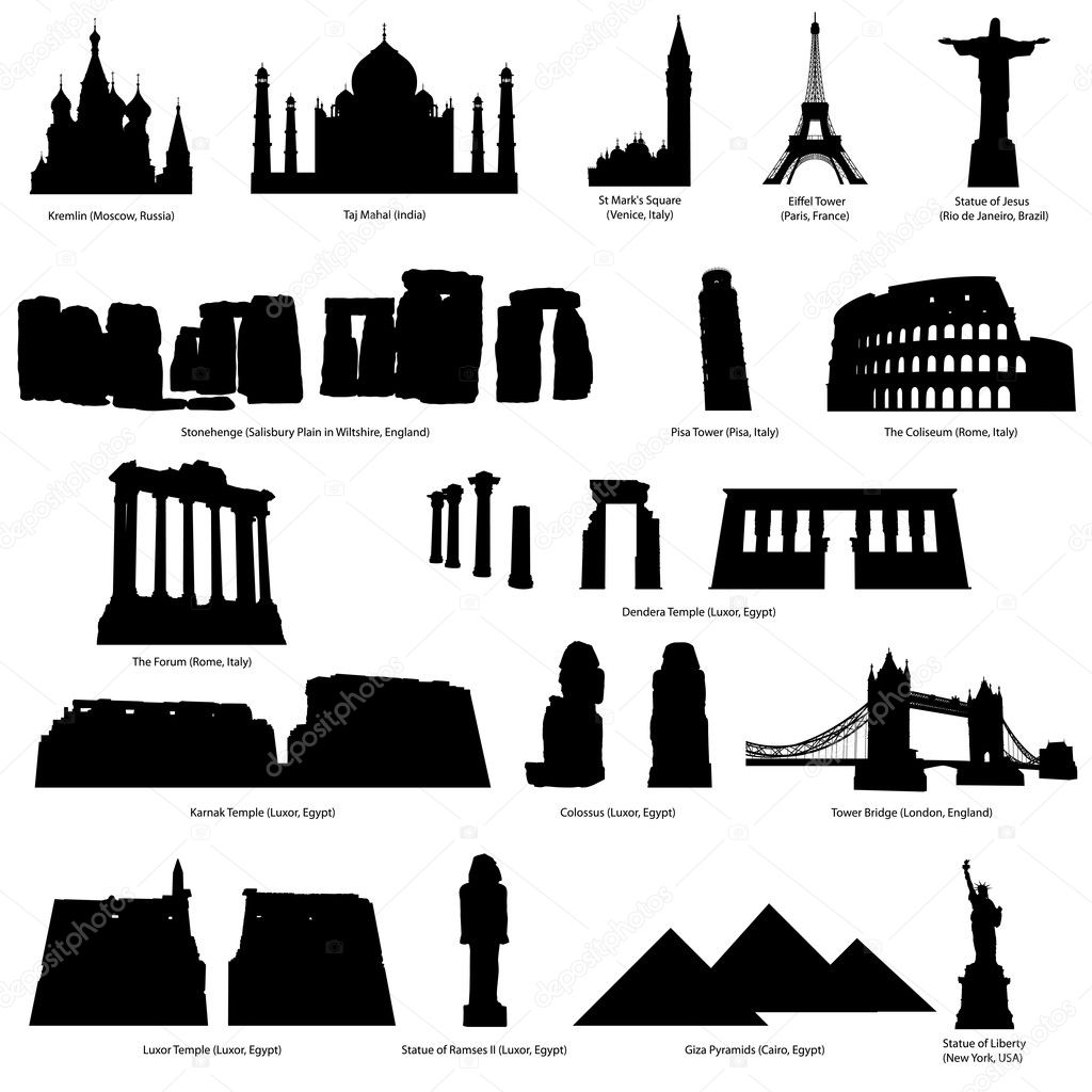 High Detail landmarks silhouette set with descriprion of title and place. Vector illustration. — Stockvectorbeeld #5243684
