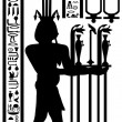Stock Vector: Egyptian hieroglyphs and fresco