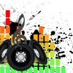 Музыкальный гранж-фон — Cтоковый вектор