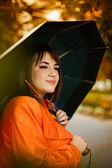 Biznes kobieta z parasolką — Zdjęcie stockowe