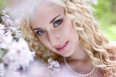 Portrait of beautiful bride with makeup — Stock Photo