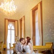 Bride and groom in the palace — Stock Photo #4383938