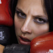 Stock Photo: Portrait of the girl boxer