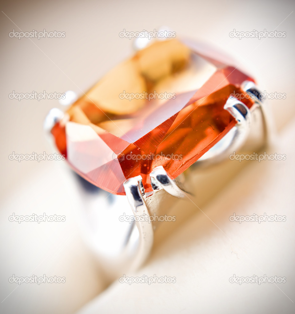 Retro old silver ring with orange gem in box isolated on a white  — Stock Photo #4739028