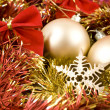 Christmas baubles and ribbons on red background — Foto Stock