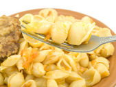 Macaroni on a plug — Stock Photo