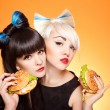 Two girls with burgers — Stock Photo #5155659