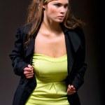 Elegant beautiful woman in fashion dress posing — Stock Photo