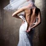 Lovely sensual bride unzip her wedding dress — Stock Photo
