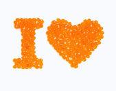Te quiero. caviar rojo aislado sobre fondo blanco — Foto de Stock