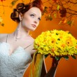 Beautiful redhead bride — Stock Photo