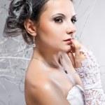 Thoughtful beautiful bride — Stock Photo
