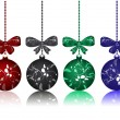 Christmas balls with bows - Stock Vector
