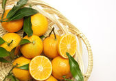 Fresh mandarins with green leaves in a pad — Stock Photo