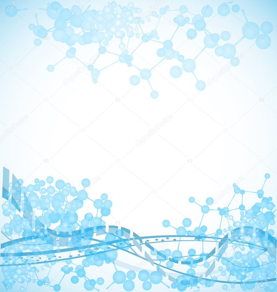 Science background with bulky molecules, vector illustration — Stock Vector #4796998