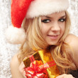 Blond in suit Santa Claus — Stock Photo
