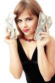 Drží peníze — Stock fotografie
