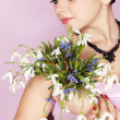 Girl with the bouquet — Stock Photo