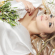Stock Photo: Blond and flowers