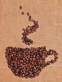 Drawing of coffee on the textile — Stock Photo