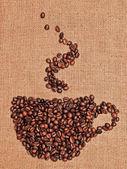 Zeichnung des kaffees auf dem textil — Stockfoto