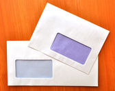 Empty envelopes with a window — Stock Photo