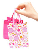 Paper bags in female hand — Stock Photo