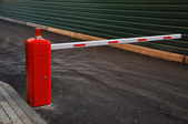 Striped automatic barrier — Stock Photo