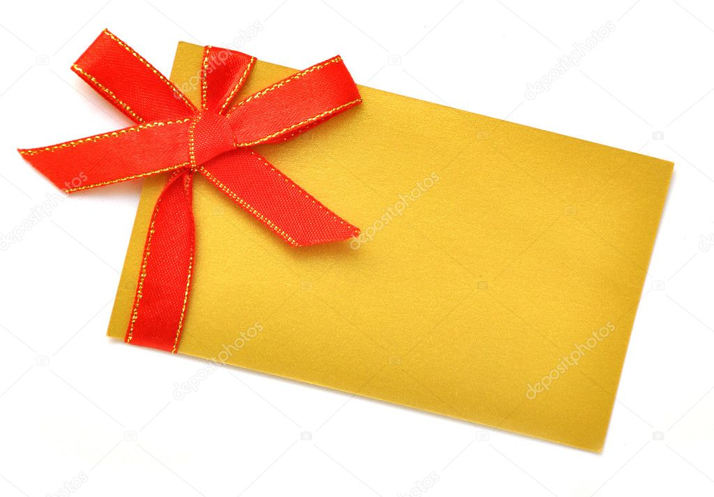 Blank gift with of red satin ribbon on white  Stock Photo #4108702
