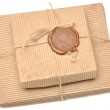 Brown box with sealing wax — Stock Photo