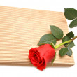 Stock Photo: Red rose and gift box