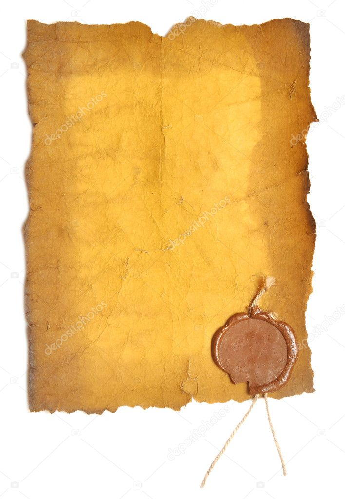 Old paper with a wax seal on a white background   Stock Photo #4200458