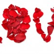 "Word ""LOVE"" made of petal red rose - Stock Photo"
