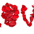 Word &quot;LOVE&quot; made of petal red rose - Photo