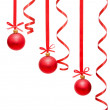 Сhristmas balls hanging with ribbons — Stock Photo #4294983