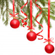 Royalty-Free Stock Photo: сhristmas balls hanging with ribbons