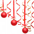 сhristmas balls hanging with ribbons — Stockfoto