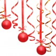 Сhristmas balls hanging with ribbons — Stock Photo