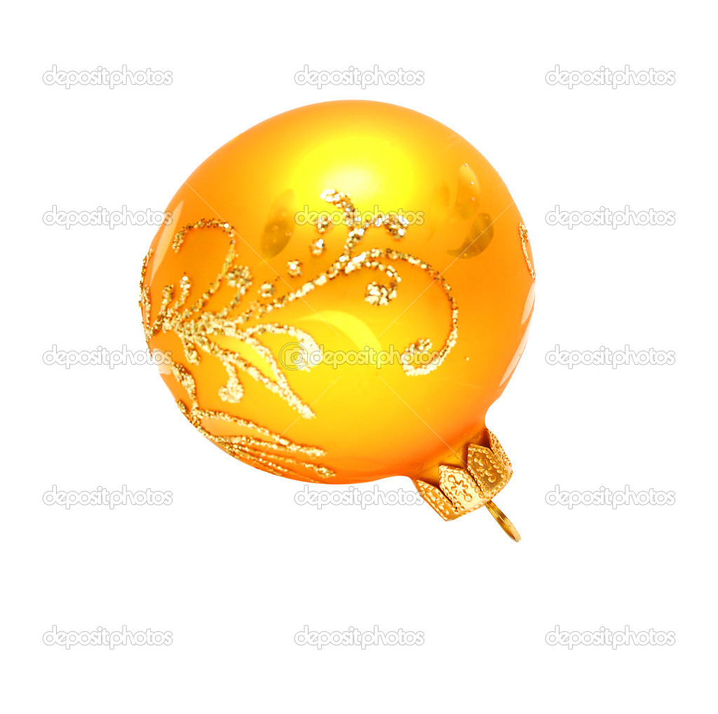 Christmas decoration yellow ball on white background — Stock Photo #4339987