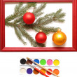 Christmas balls in wood frame — Stockfoto