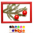 Christmas balls in wood frame — Foto de Stock