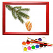 Christmas decoration in wood frame — Stock Photo