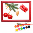 Christmas presents in wood frame — Stockfoto