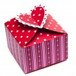 Red gift box and hearts — Stock Photo