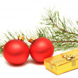 Christmas gift box with christmas balls — Foto Stock