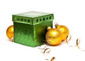 Christmas gift box with christmas balls — Stock Photo